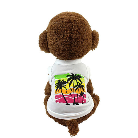 Breathable Pet Summer Hawaiian White Coconut Tree Print Vest Tropical Style T-shirt