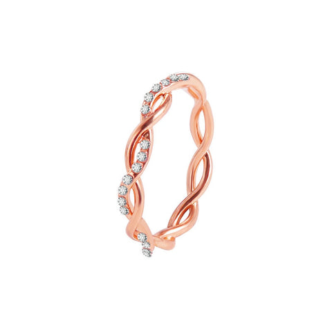 Crystal Twist Rose Gold Wedding Rings For Women - Dealfactor Canada