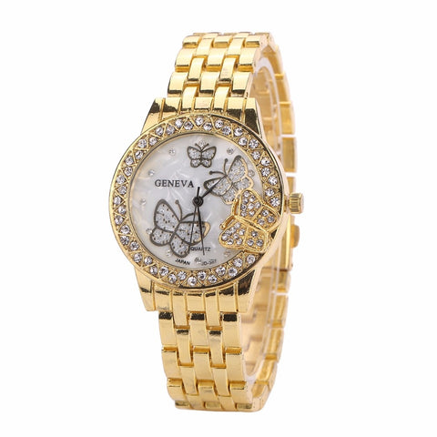 Women's Gold Rose-Gold Silver Colored Plated Butterfly Watches Quartz