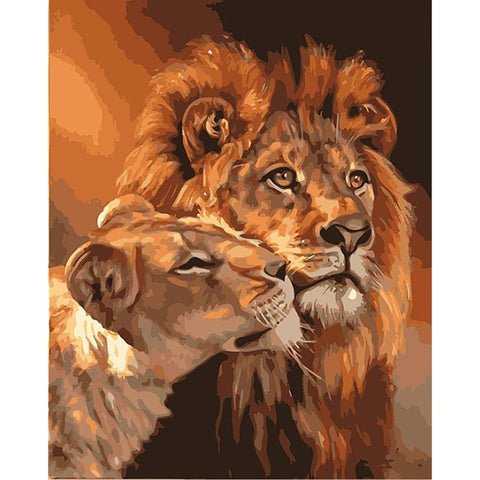 Frameless Lions Family (DIY) Painting By Numbers Acrylic Picture ( No Frame) (40CMx50CM  no framed) - Dealfactor Canada