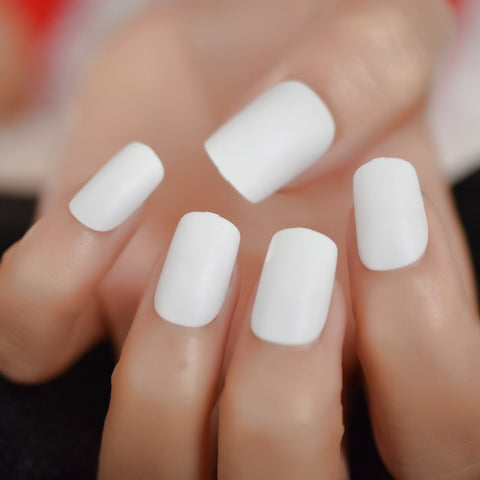 White Matte Square Medium Fake Nails Elegant Cream Art DIY Frosted Daily Wear Party Lady - Dealfactor Canada