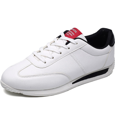 LudBA Originals© White Leather Men's Sneakers Lightweight Dressy - Dealfactor Canada