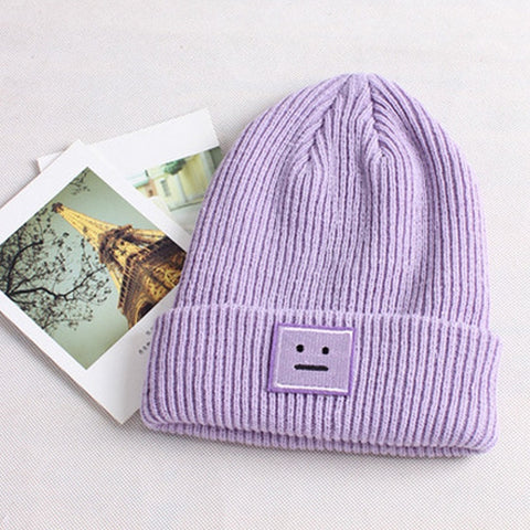 Women's Winter Knit Ski Hat Beanie Smile Crochet Braided Wool Cap Hat 4 Colors - Dealfactor Canada
