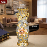 Europe Gold Plated Frost Porcelain Vase Vintage Advanced Ceramic - Dealfactor Canada