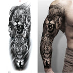 Temporary Tattoos Body Art Wolf Tiger Bear Warrior Tribal Symbol Full Arm Leg Extra Large