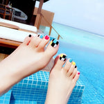 24PCS fashion design cute toes latest French style candy colorful fake toe 65 Optional - Dealfactor Canada