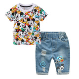 Children Clothing Cartoon Mickey Shorts Denim Pants Short Sleeve T Shirt Sets - Dealfactor Canada
