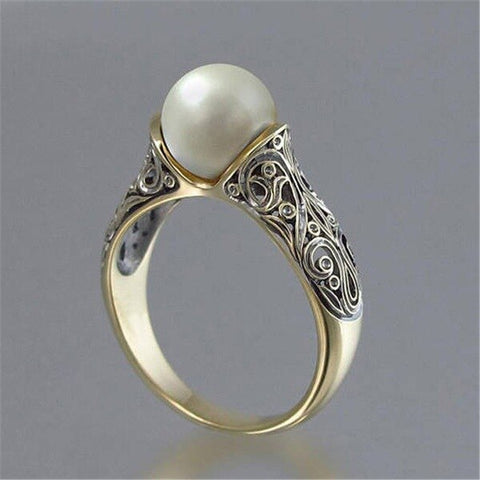 Vintage Gold Color Punk Big Simulated Pearl Wedding Ring - Dealfactor Canada