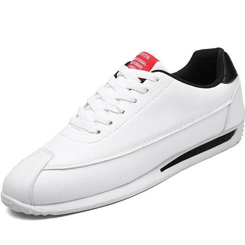 LudBA Originals© White Leather Mens Sneakers All White Dressy Sports Shoe - Dealfactor Canada