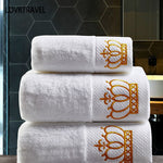 Set Embroidered Imperial Crown Cotton White Hotel Towel Set Face Towels Bath Towels