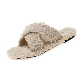 Winter Women Slippers Solid Fluffy Crisscross Design Platform Fur Sole Luxury Mules Ladies Slides Party Sandals Zapatos De Mujer