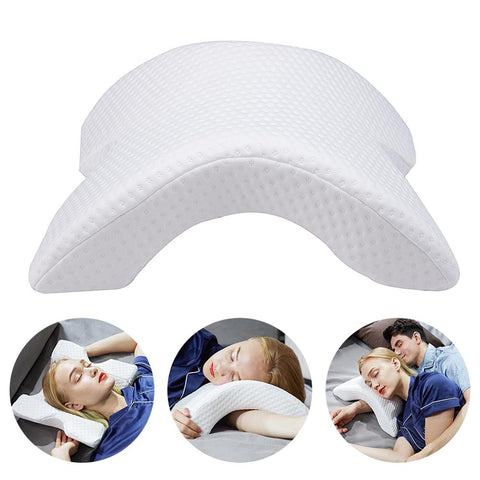 Arch U-Shaped Curved Memory Foam Sleeping Neck Cervical Pillow with Hollow Design Arm Rest
