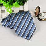 Men's Beautiful Necktie 8cm Stripes Polyester - Dealfactor Canada
