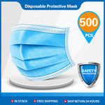 500pcs Disposable Masks 3-layer Non-Woven Face Mask Anti Dust Mouth Mask Protection Breathing Soft Protective Mask 10/50/100/200 pcs (500 PCS)