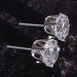 Women Silver Sterling 7.5MM Round 2 Carat Cubic Zirconia Stud Earrings