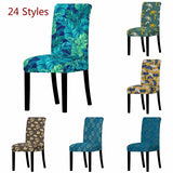 Nordic Leaf pattern Chair Seat Cover Home Dining Room Elastic Material Chair Covers