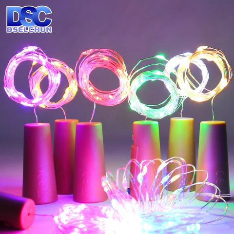 LED Wine Bottle Lights 2M 20LEDs Cork Shape Copper Wire Colorful Mini String Lights For Indoor Outdoor Wedding Christmas Lights