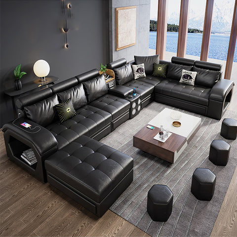 "Soft Leather Brown Black U-Shaped Sectional Couch 165"" x 86"""