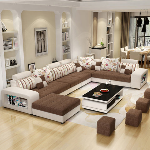 Living Room Furniture 7 Seater Modern European Fabric U Shaped Sectional Living Room Sofa Set