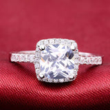 Women's Solid 925 Sterling Silver Cushion Cut Zircon Cz Jewelry Set Engagement Ring
