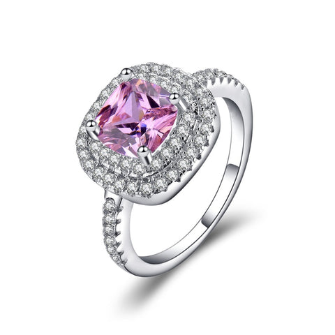 New Purple Pink Cubic Zirconia 3A White Silver Colored Wedding Ring - Dealfactor Canada