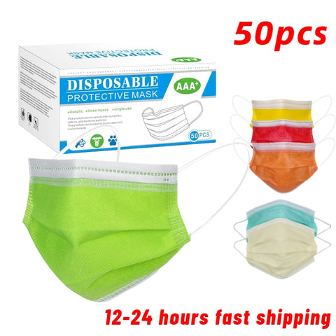 50pcs Disposable Face Mask 3 Layer Non-woven Mouth Mask Adult Green Soft Breathable Protective Anti Pollution Dust Masks