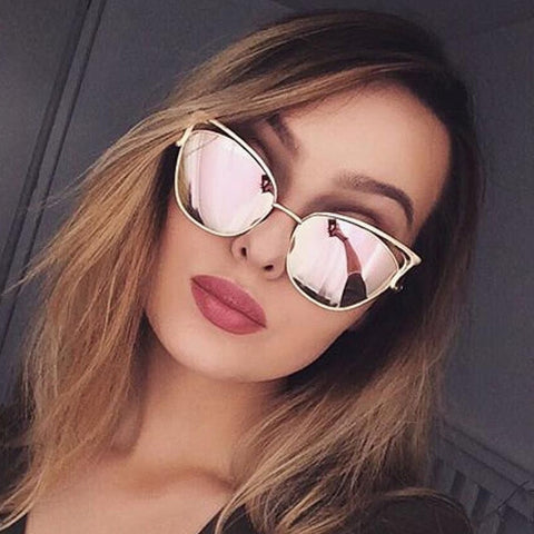 Women New Brand Designer Metal Frame Mirror Rose Gold Sunglasses UV400