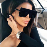 Women Oversized Big Square Plastic Frame UV400 Sunglasses