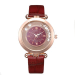 Luxury Brand Leather Quartz Wristwatch Ladies Dress Rhinestone