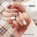 24Pcs Fashion Fake Nails Glitter Gold White Pink Mauve Square Artificial Nail - Dealfactor Canada