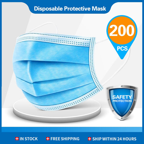 500pcs Disposable Masks 3-layer Non-Woven Face Mask Anti Dust Mouth Mask Protection Breathing Soft Protective Mask 10/50/100/200 pcs (200 PCS)