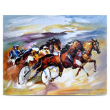 Canvas Print Painting Horse Racing Wall Art 70x90cm (27.5x 36inches) For Bedroom Hallway A Great Gift For Horse Riders