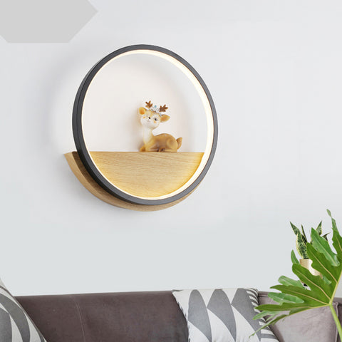 Wall Lamp Living Room Background Wall Simple Modern Round Lovely Deer Restaurant