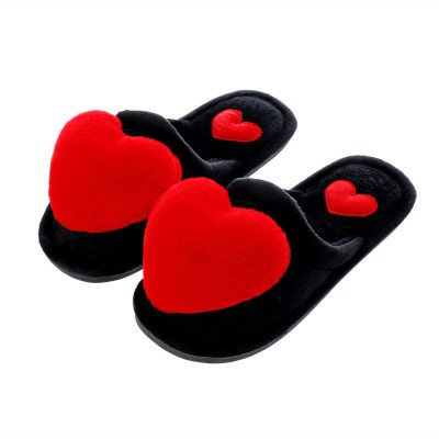 Women Fashion Heart Fluffy Fox Fur PomPoms Slippers Sandals Shoes
