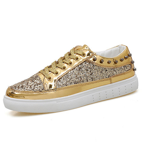 Women's Rich Girl Hip-Pop Bling Gold Glitter Sneakers 3 Optional Colors - Dealfactor Canada