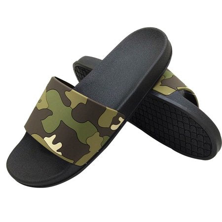 Men's Summer Camouflage Beach Sports Flip Flops Classic Latest Trend Comfortable Flat Slippers Gray Top