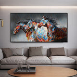 Copy of Wall Art Canvas Print Painting Colorful Horse Couple Wall Art For Bedroom Hallway Home Décor