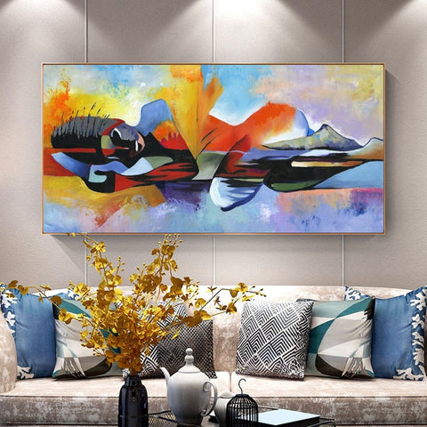 Pixlated Abstract Canvas Print Wall Art Painting 60x110cm Roll-Up No Frame Attached