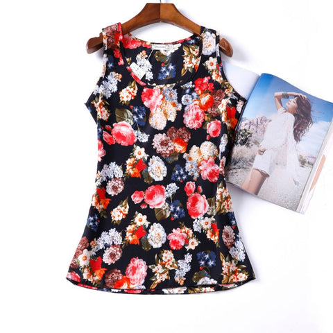 Ladies Blouses Print Summer Cheap Women Clothing  Tops Vest Tropical Blouse Shirt