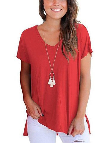Ladies Short Sleeve Loose T Shirt Women Casual V Neck Hem Split Tops