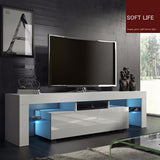 Modern White Matt High Gloss Modern Minimalist TV Cabinet Living Room With High-gloss LED Lights Cabinet Storage Cabinet Table