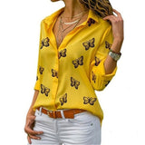 Ladies Yellow Butterfly Print Casual Blouse Long Sleeve Elegant Women Tops