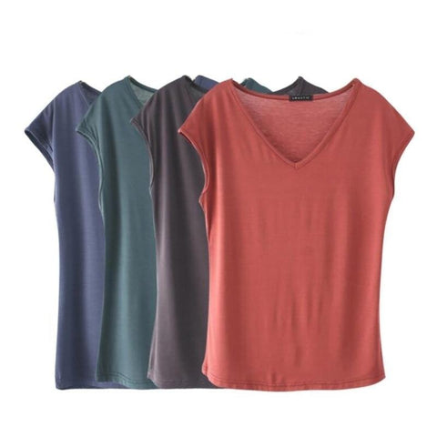 Women Casual T-Shirt Short Sleeve Solid Color Model Tops