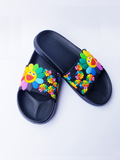 Women Anti-Skid Summer Flower Slippers Flip Flops Black Size 40-41