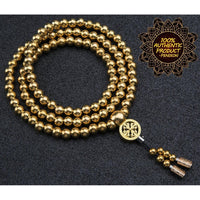 Full Brass Buddha Beads Self Defense Beads Mala Necklace - Cakra EDC Gadgets
