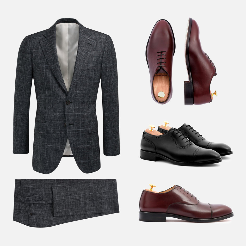 alternative shoes to black charcoal suit