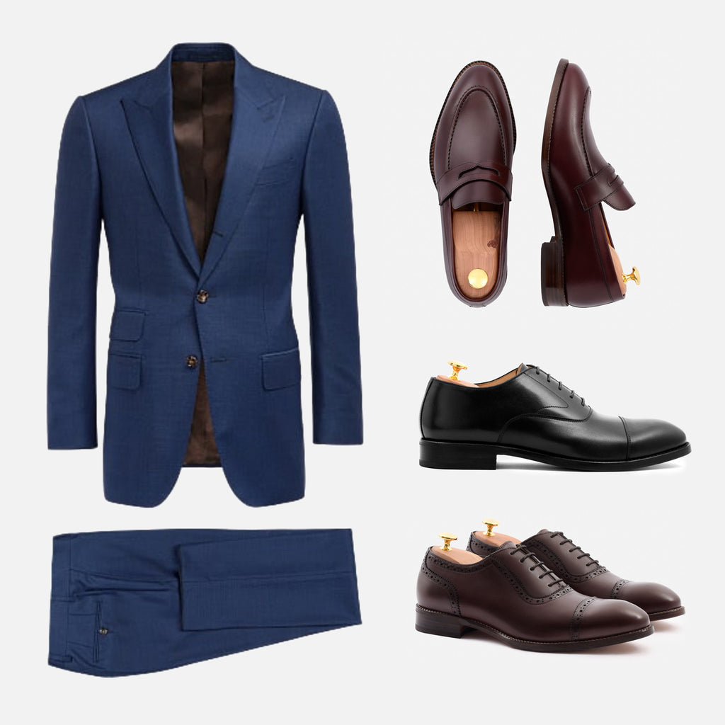 alternative shoes to black navy suit