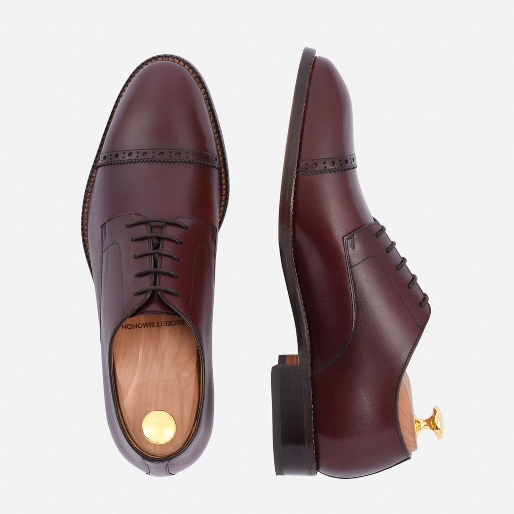 Norman cap toe derby bordeaux