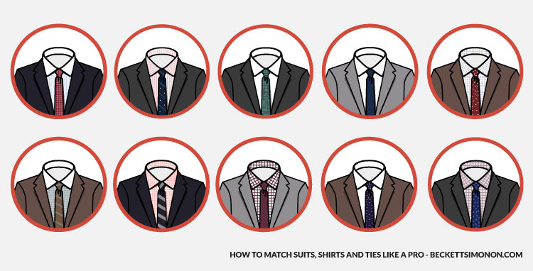 How to match suits shirts and ties like a pro beckett for Matching suits with shirts and ties