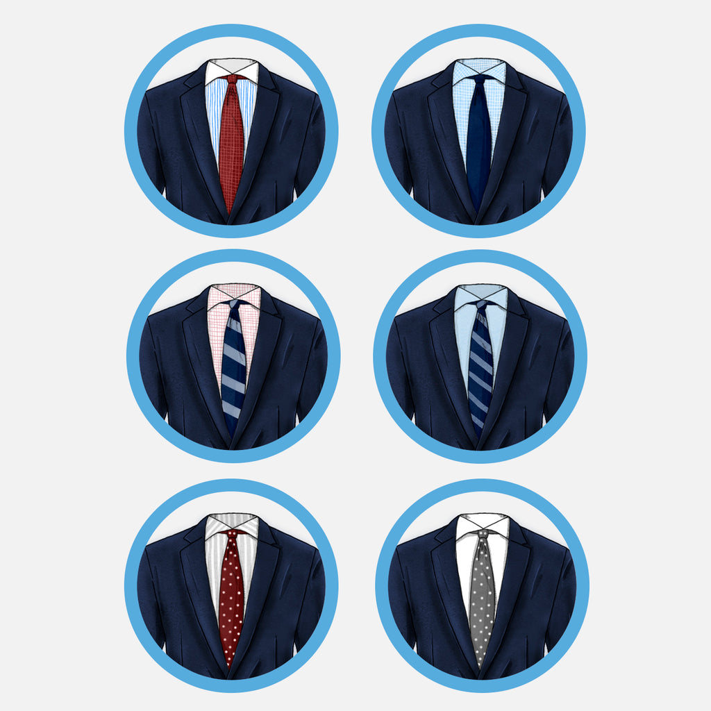 How to match suits shirts and ties navy suit